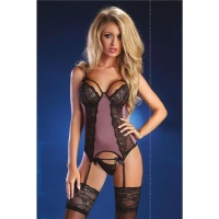 SEXY SUSPENDER NEGLIGEE WITH LACE INCL. THONG LINGERIE OLD-PURPLE UK 12/14 (L/XL)