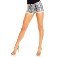 SEXY STRETCH HOTPANTS/SHORTS IN REPTILE-LOOK WHITE/BLACK