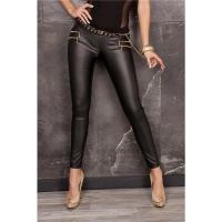 SEXY STRETCH DRAINPIPE PANTS IN LEATHER-LOOK BLACK UK 14 (L)