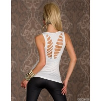 SEXY STRETCH TOP WITH CUT-OUTS ZIPPER CLUBWEAR CREAM UK 10/12