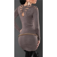 SEXY FINE-KNITTED MINIDRESS/LONG SWEATER WITH CUT-OUTS CAPPUCCINO