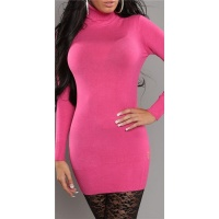 SEXY KNITTED TURTLE NECK MINIDRESS/LONG SWEATER FUCHSIA