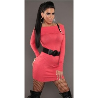 SEXY KNITTED MINIDRESS WITH BELT CARMEN-NECKLINE CORAL