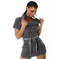 SEXY KNITTED MINIDRESS WITH BELT GREY / BLACK