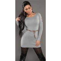 SEXY KNITTED MINIDRESS WITH BELT LOOPS LEOPARD-LOOK LIGHT GREY