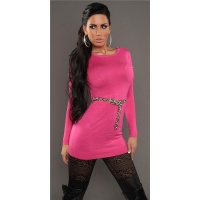 SEXY KNITTED MINIDRESS WITH BELT LOOPS LEOPARD-LOOK FUCHSIA