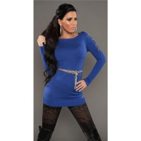 SEXY KNITTED MINIDRESS WITH BELT LOOPS LEOPARD-LOOK ROYAL BLUE