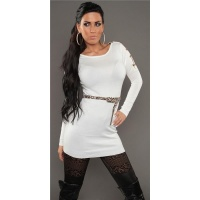SEXY KNITTED MINIDRESS WITH BELT LOOPS LEOPARD-LOOK WHITE
