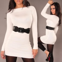 SEXY KNITTED MINIDRESS WITH BELT WHITE