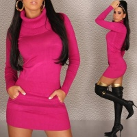 SEXY KNITTED MINIDRESS FUCHSIA Onesize (UK 10,12,14)