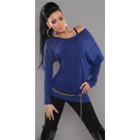 ELEGANT FINE-KNITTED LONG SWEATER WITH RIVETS RHINESTONES BLUE