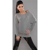 ELEGANT FINE-KNITTED LONG SWEATER WITH RIVETS RHINESTONES GREY Onesize (UK 8,10,12)