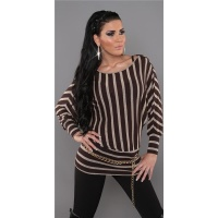ELEGANT FINE-KNITTED SWEATER LONG SWEATER BROWN/BEIGE