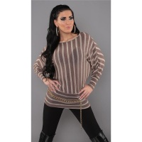 ELEGANT FINE-KNITTED SWEATER LONG SWEATER CAPPUCCINO/BEIGE