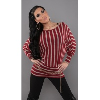 ELEGANT FINE-KNITTED SWEATER LONG SWEATER RED/BEIGE Onesize (UK 8,10,12)