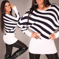 ELEGANT KNITTED SWEATER LONG SWEATER WHITE/BLACK Onesize (UK 8,10,12)