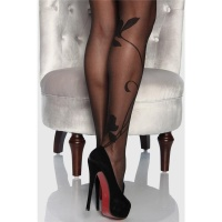 SEXY PANTYHOSE WITH FLORAL PATTERN SEMI-TRANSPARENT BLACK