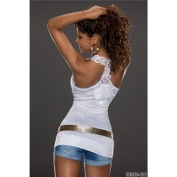 SEXY TANKTOP LONG TOP WITH EMBROIDERY AT THE BACK WHITE Onesize (UK 8,10,12)