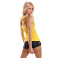 SEXY TANKTOP WITH EMBROIDERY YELLOW