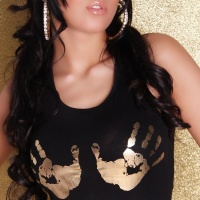 SEXY TANKTOP WITH FUNNY PRINT BLACK / GOLD