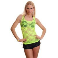 SEXY TANKTOP MADE OF LACE TRANSPARENT NEON-YELLOW