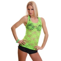 SEXY TANKTOP MADE OF LACE TRANSPARENT NEON-GREEN