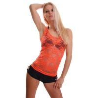 SEXY TANK-TOP TOP AUS SPITZE TRANSPARENT NEON ORANGE