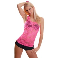 SEXY TANKTOP MADE OF LACE TRANSPARENT NEON-FUCHSIA