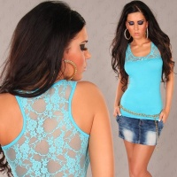 SEXY TANKTOP TOP WITH LACE TURQUOISE