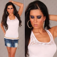 SEXY TANKTOP TOP WITH LACE WHITE