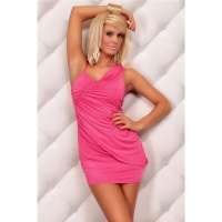 SEXY STRAP MINIDRESS WITH RUFFLES FUCHSIA