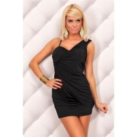 SEXY STRAP MINIDRESS WITH RUFFLES BLACK
