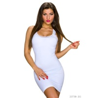 SEXY STRAP MINIDRESS WITH FINE LACE WHITE UK 10/12 (S/M)