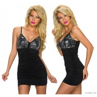 SEXY STRAPPY MINI DRESS WITH SEQUINS AND GATHERS BLACK/SILVER Onesize (UK 8,10,12)