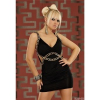 SEXY STRAP MINIDRESS WITH CHAINS BLACK