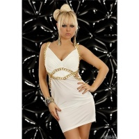 SEXY STRAP MINIDRESS WITH CHAINS WHITE