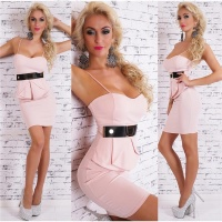 SEXY STRAP MINIDRESS PARTY DRESS WITH HALF-PEPLUM PINK Onesize (UK 8,10,12)