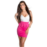 SEXY STRAP MINIDRESS PARTY DRESS WITH PEPLUM FUCHSIA/WHITE