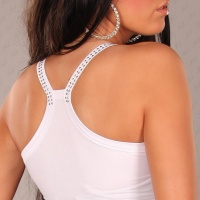 SEXY STRAPPY TOP LONGTOP WET LOOK WITH RIVETS CLUBWEAR WHITE