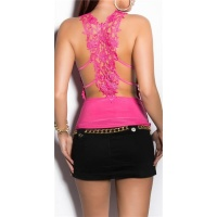 SEXY STRAPPY TOP WITH EMBROIDERY FUCHSIA