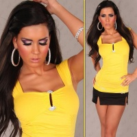 SEXY STRAPPY TOP WITH BUCKLE IN RHINESTONE-LOOK YELLOW Onesize (UK 8,10,12)