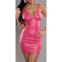 SEXY STRAP MINIDRESS FAUX LEATHER WET LOOK FUCHSIA