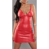 SEXY STRAP MINIDRESS FAUX LEATHER WET LOOK RED UK 10 (S)