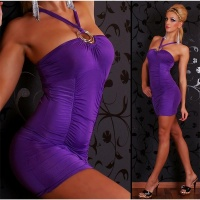 SEXY STRAP DRESS MINIDRESS PURPLE