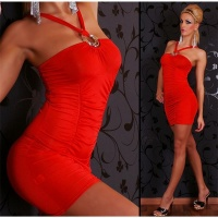 SEXY STRAP DRESS MINIDRESS RED UK 8/10