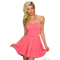 SEXY STRAPLESS A-LINE BANDEAU MINIDRESS CORAL