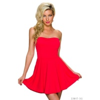 SEXY STRAPLESS A-LINE BANDEAU MINIDRESS RED