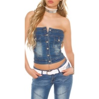 SEXY STRAPLESS BANDEAU DENIM JEANS TOP WITH BUTTONS BLUE
