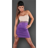 SEXY STRAPLESS BI-COLOUR MINIDRESS PARTY DRESS PURPLE/BEIGE
