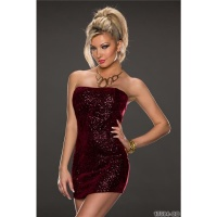 SEXY STRAPLESS PARTY EVENING DRESS WITH SEQUINS WINE-RED Onesize (UK 10/12)